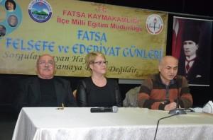 """ORDU'NUN FATSA İLÇE MİLLİ EĞİTİM MÜDÜRLÜĞÜ TARAFINDAN DÜZENLENEN """"FATSA FELSEFE VE EDEBİYAT GÜNLERİ"""" BELEDİYE KÜLTÜR SARAYI'NDA YAPILDI. (AHMET ALTAY/ORDU-İHA)"""